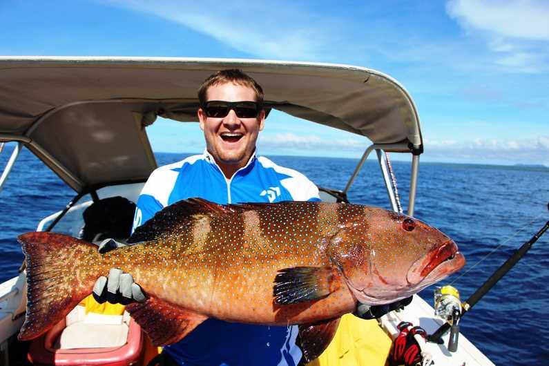 There's a happy chappy fishing with Deco Stop Lodge Espiritu Santo Vanuatu