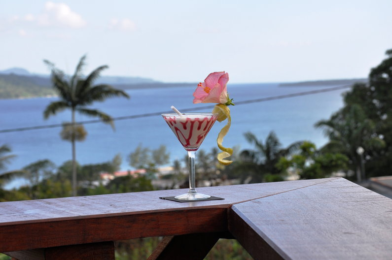 Cocktail overlooking the ocean