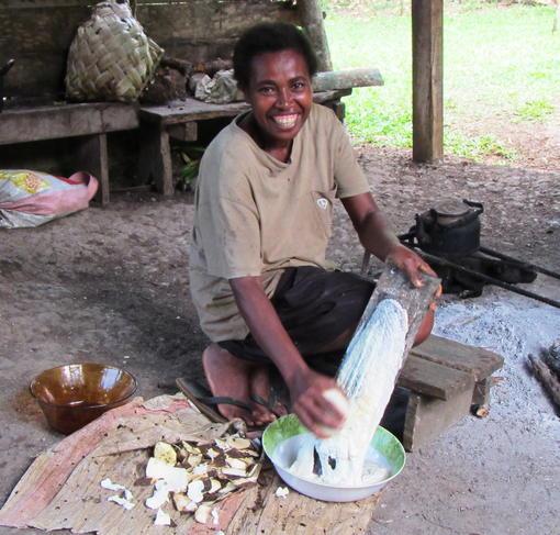 Mary preparing island food