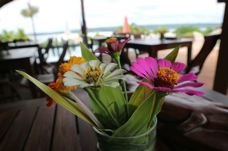 Whimsical flower arrangements grace each table in the restaurant at Deco Stop Lodge