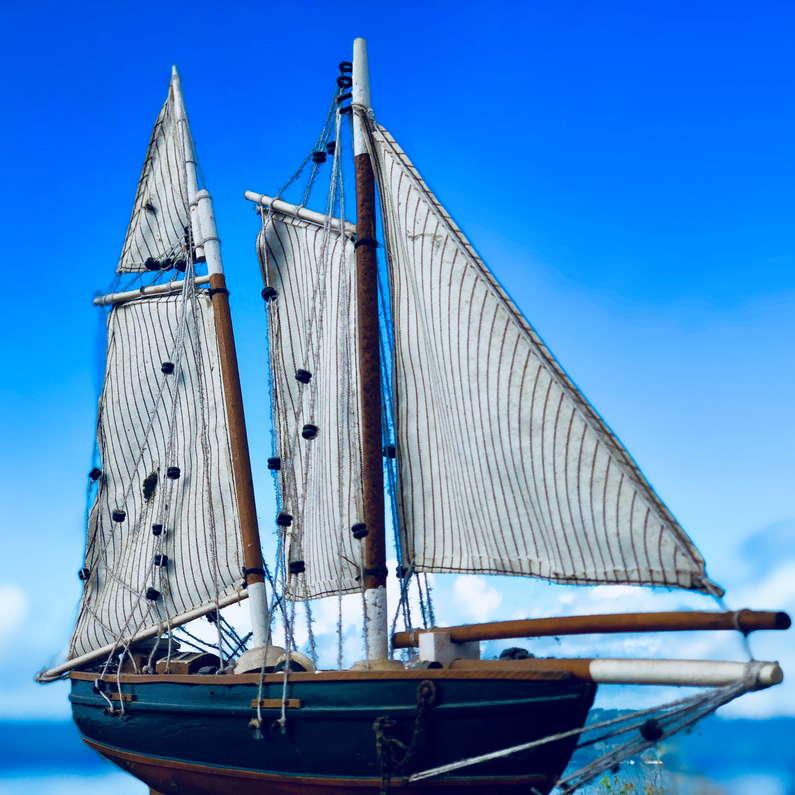 Model sailing boat at Deco Stop Lodge